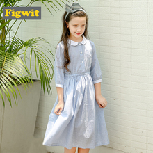 Figwit Kids Dresses for Girls Children Teenagers Clothing Robe Maxi Cotton Dress for 5 7 11 13 Years Girls Autumn Summer Dress kids dresses for girls sweaters 2017 new autumn cotton sweater dress for girls clothing school kids clothes 10 11 12 13 14 years