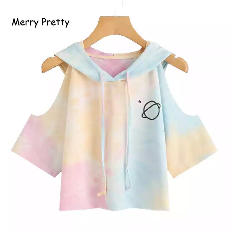 Merry Pretty Women Hooded Crop T-shirt Multicolor 3/4 Sleeve Planet Printed Off Shoulder Drawstring Casual T Shirt Sexy Crop Top