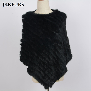 Image 3 - Womens Knitted Poncho Real Rabbit Fur Fashion Style Winter Autumn Warm Fur Shawl Ladies Top Quality Cape S1071S