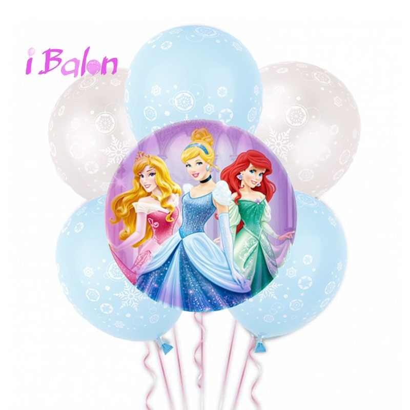 7pcs/kit Cinderella Inflatable Helium Globos Cute Princess Foil Balloons Baby Shower Birthday Party Decorations kids Balloon