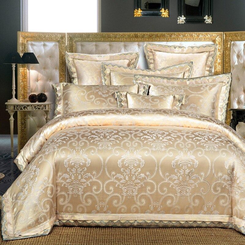 Ivarose bedding set regina king size nastro dorato di lusso jacquard stain bed set 4/6 pz copripiumino lenzuolo lamiera piana 28 - 5