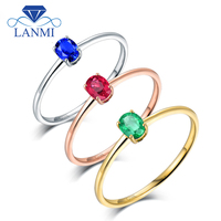 Oval Real 18K White Gold Green Emerald, Blue Sapphire, Red Ruby Engagement Ring Wife Fine Jewelry Birthday Mom Christmas Gift