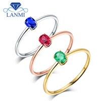 Owalne Prawdziwe 18 K Białe Złoto Zielony Emerald, Blue Sapphire, czerwony Rubin Pierścionek zaręczynowy Żona Fine Jewelry Mama Urodziny Prezent Na Boże Narodzenie
