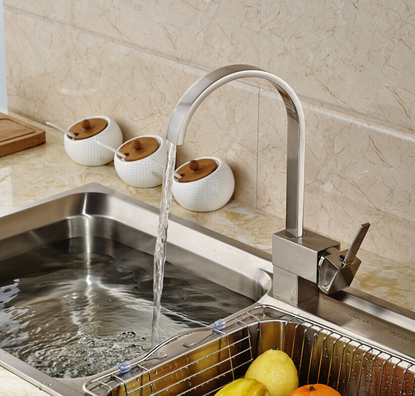 Factory Direct Sale Sink Mixer Taps Single Hole Hot Cold Kitchen Faucets Brushed Nickel