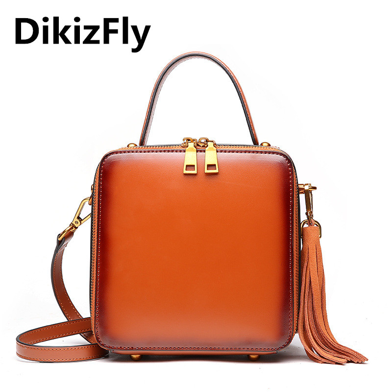 цены DikizFly Fashion Flap Split Leather Handbags women bags totes Solid Vintage Crossbody bags Zipper Brand Tassel Messenger bag