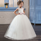 White Flower Girl Dress Kid Girls First Communion Dresses Tulle Lace Wedding Long Princess Costume For Junior Children Clothes