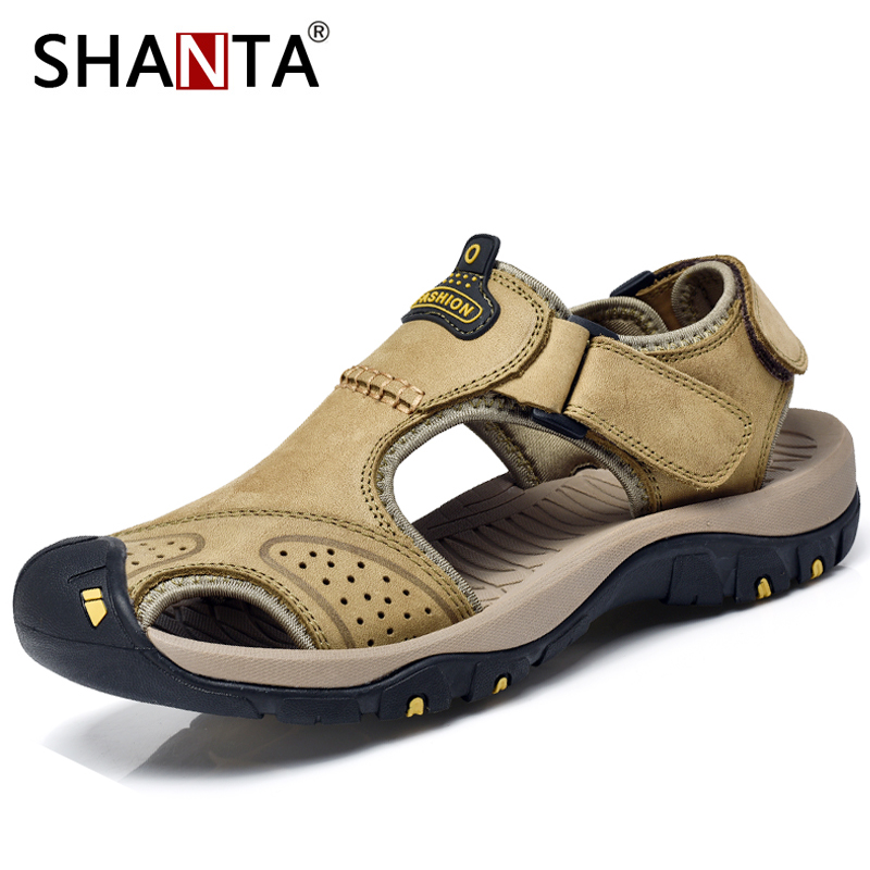 2019 Summer New Men/'s Leisure Genuine Leather Sandals Beach Breathable Slippers