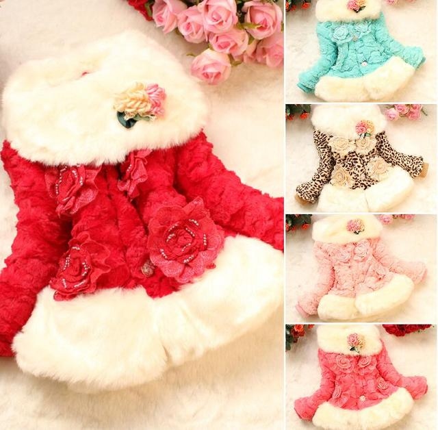 9cb29a3ace58 Autumn Winter wear Clothes baby Children outerwear dress jacket Girls pearl  faux fox fur collar coat Retail Clothing with bow