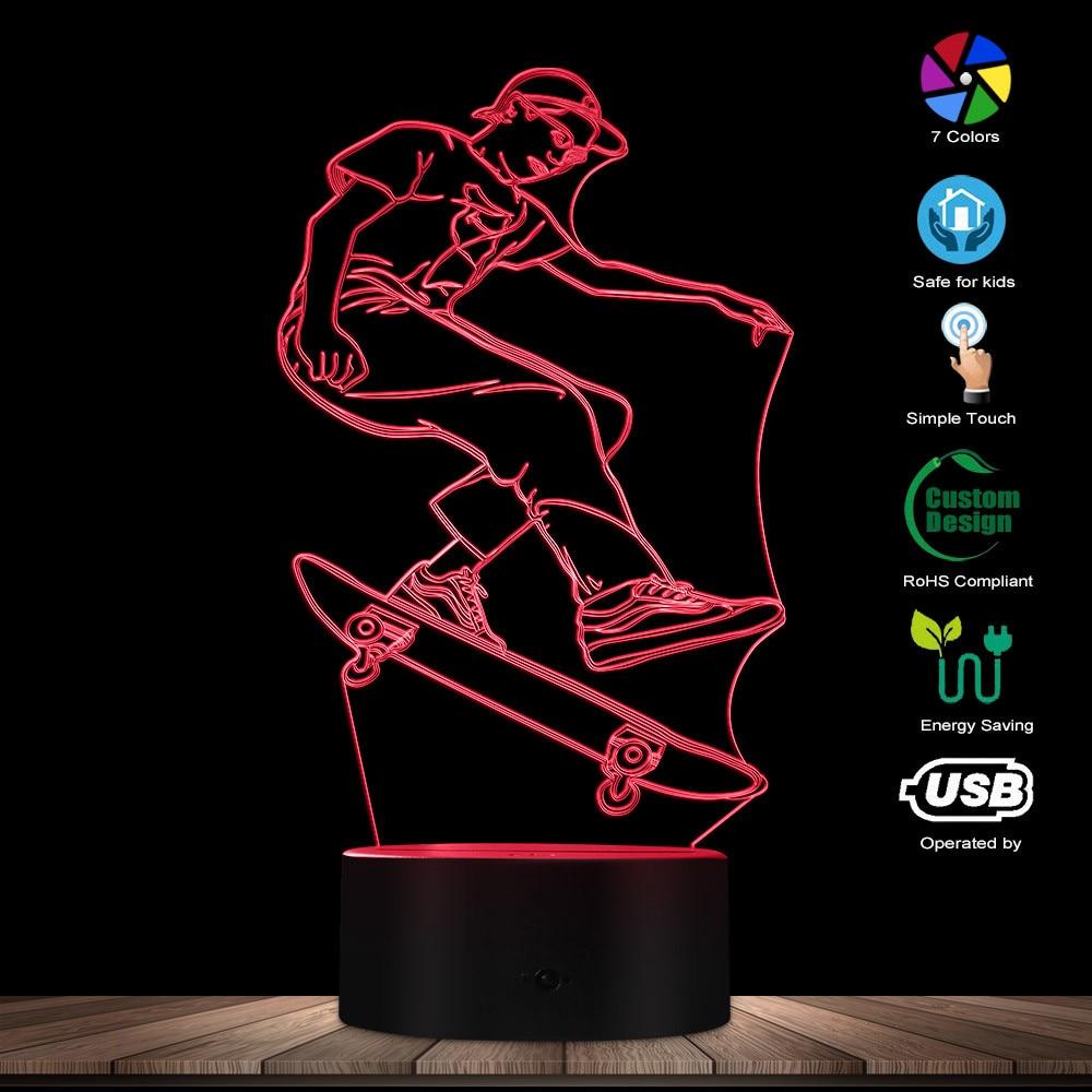 Skateboarding Lamp Exclusive Skateboarder 3D Illusion Lighting Art Boy Room Decor Night Lamp Kids Sleepy Light USB Table Lamp