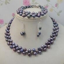 Натуральный жемчуг, ювелирный набор, черный цвет, Женский пресноводный жемчуг, ожерелье, браслет, серьги, 925 серебро, ювелирное изделие, магнитная застежка