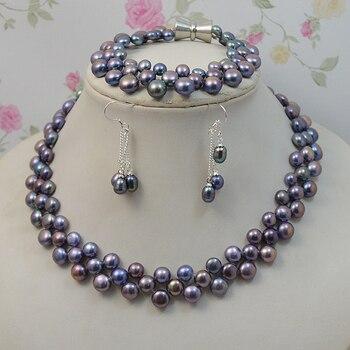 129601b6bd1c Conjunto de joyas de perlas naturales de Color negro para mujer collar de  perlas de agua dulce pendientes de pulsera 925 joyas de plata Cierre  magnético