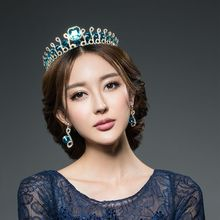 European Baroque crown pearl ornaments retro bride wedding dress blue crystal tiara jewelry accessories