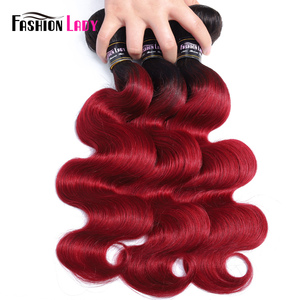 Image 4 - Fashion Lady Pre Colored Brazilian Hair Body Wave Bundles 1b burgundy Weave Ombre Human Hair Extensions 1piece Non remy