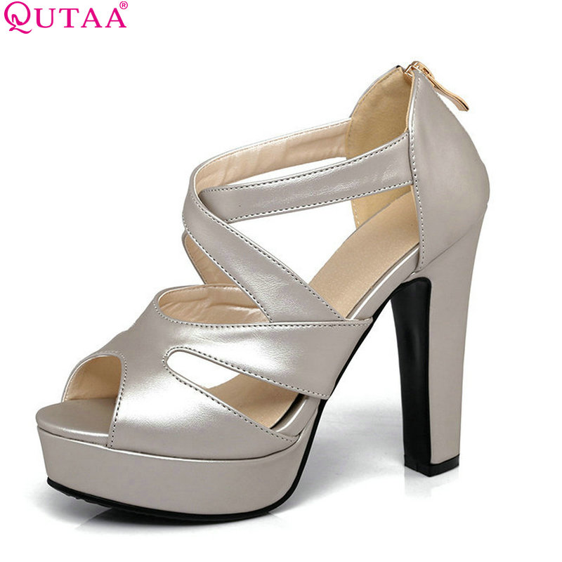QUTAA 2017 Women Sandal Square High Heel Platform Women Shoes Black Zipper Peep Toe PU Leather Ladies Wedding Shoes Size 34-43 qutaa 2017 silver women pumps thin high heel peep toe slip on platform sexy summer pu leather ladies wedding shoes size 34 43