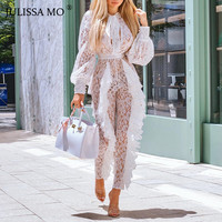 JULISSA MO Elegant Ruffle Sheer Lace Bandage Jumpsuit Women Rompers Autumn Sexy See through Long Sleeve Casual Party Bodysuit