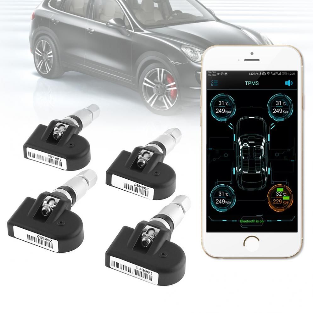 Universal 4pcs Car TPMS Bluetooth 4.0 Tyre Tire Pressure Monitoring System APP Display Internal Sensors Support Android IOS