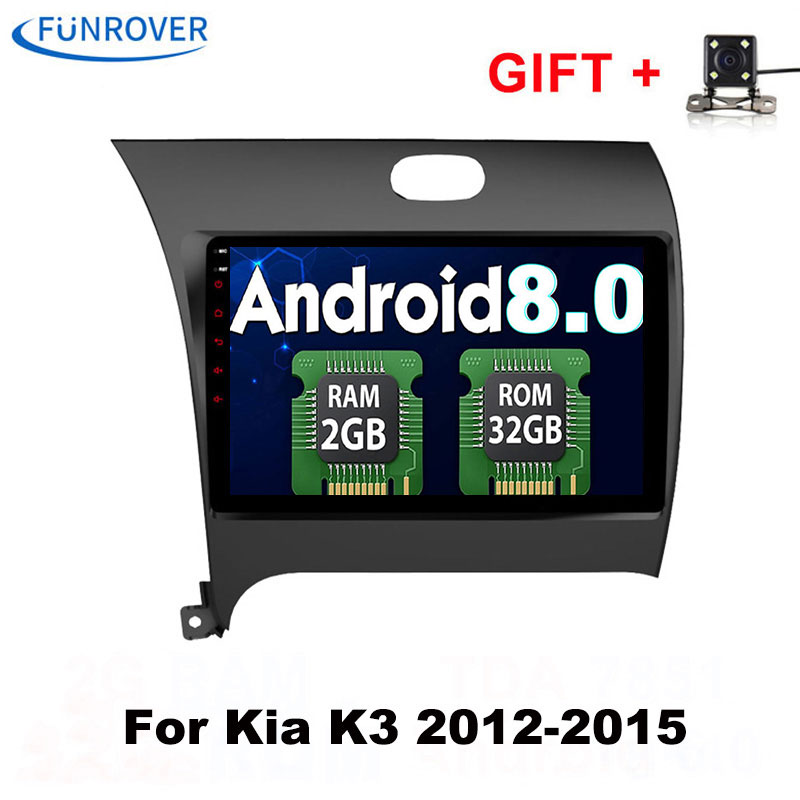 Funrover 2 din 9 de polegada de Dvd Do Carro 2G + 32G Android 8.0 para Kia CERATO K3 forte 2013 com Rádio GPS WIFI BT FM RDS navegação
