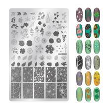 Дизайн ногтей штамповка перо цветы и листья стили прямоугольник штамповочный трафарет ногти дизайн изображения DIY пластина для маникюра инструмент