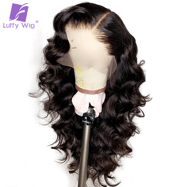Luffy Pre Plucked Glueless Peruvian Full Lace Human Hair Wigs With Baby Hair Natural Color Non Remy Wavy Hair Bleached Knots