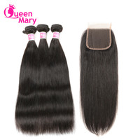 Brazilian Straight Hair Human Hair Bundles With Closure Brazilian Hair Weave 3 Bundles With Closure Queen