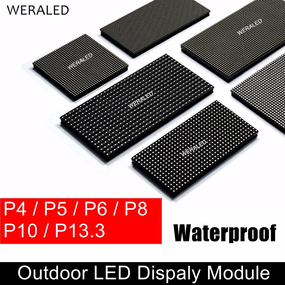 цена на WERALED P4 P5 P6 P8 P10 Outdoor LED Module HUB75B Ports,SMD 3-in-1 Full Color LED Video Wall Display Panel Unit IP65