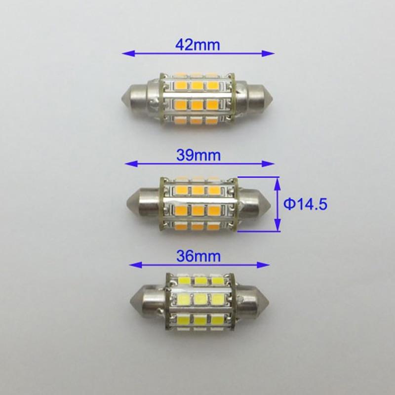 Festoon 12V C5w LED 2835 24V Diody Morskie Wskaźnik świetlny 36mm - Światła samochodowe - Zdjęcie 2