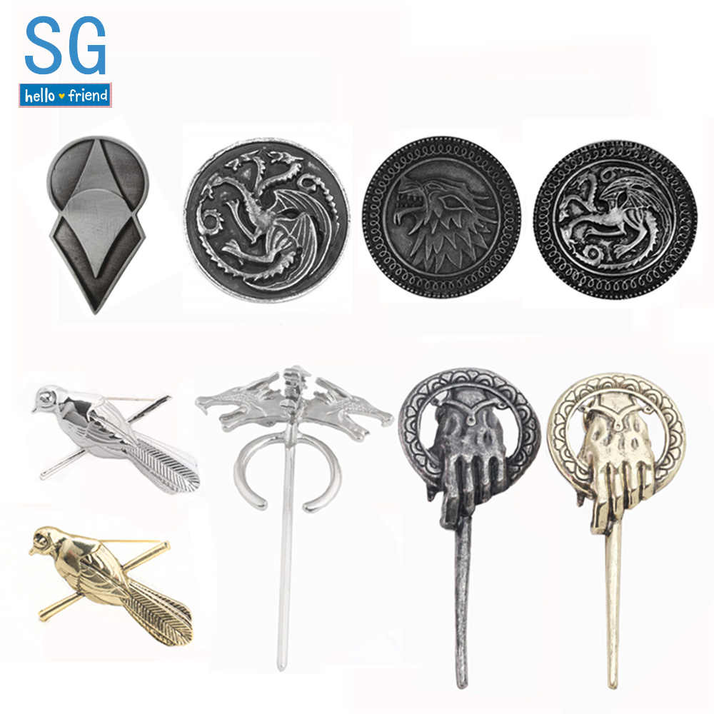 SG Game Of Thrones Naga Wolf Burung Lencana Bros A Song Of Ice And Fire Hand Of The King kerah Pin Pria Mantel Perhiasan Hadiah