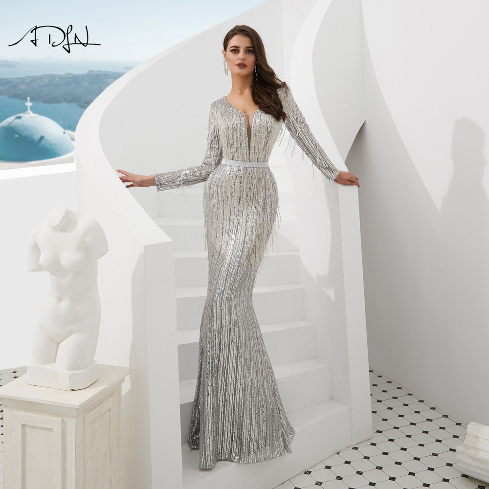 ADLN Luxurious Muslim Long Sleeves   Evening     Dresses   Silver Handmade Beading Arabic Mermaid Pageant   Dress   Prom Gown Customized