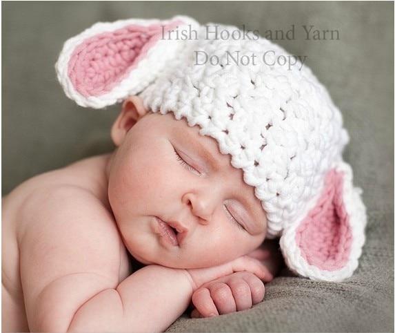 50953da0487 B002 Free shipping Crochet Newborn baby hat white sheep cap photography  props