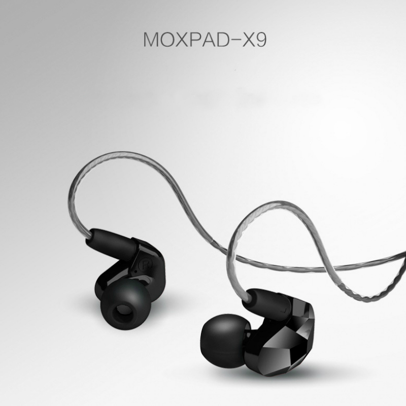 Moxpad X9 Super Bass HIFI Earphone Double Dynamic Driver In-ear Headset Sport Headphone Earbuds With Mic Detachable Cable Design transparent color double dynamic earphone 2 unit driver hifi bass with microphone audio cable headphone high quality headset