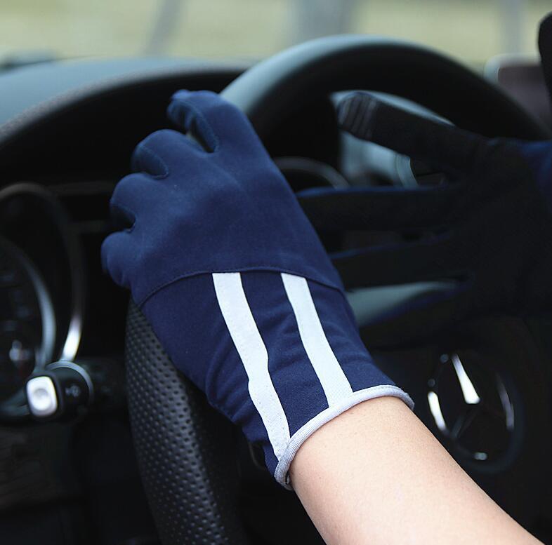 Spring Summer Men's Sunscreen Thin Gloves Male Anti-uv Slip-resistant Striped Driving Gloves R1110