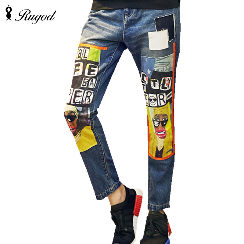 2016 Women Denim Jeans Plus Size Fashion Girls Loose Personalized Printed Pants Female Autumn Long Pants