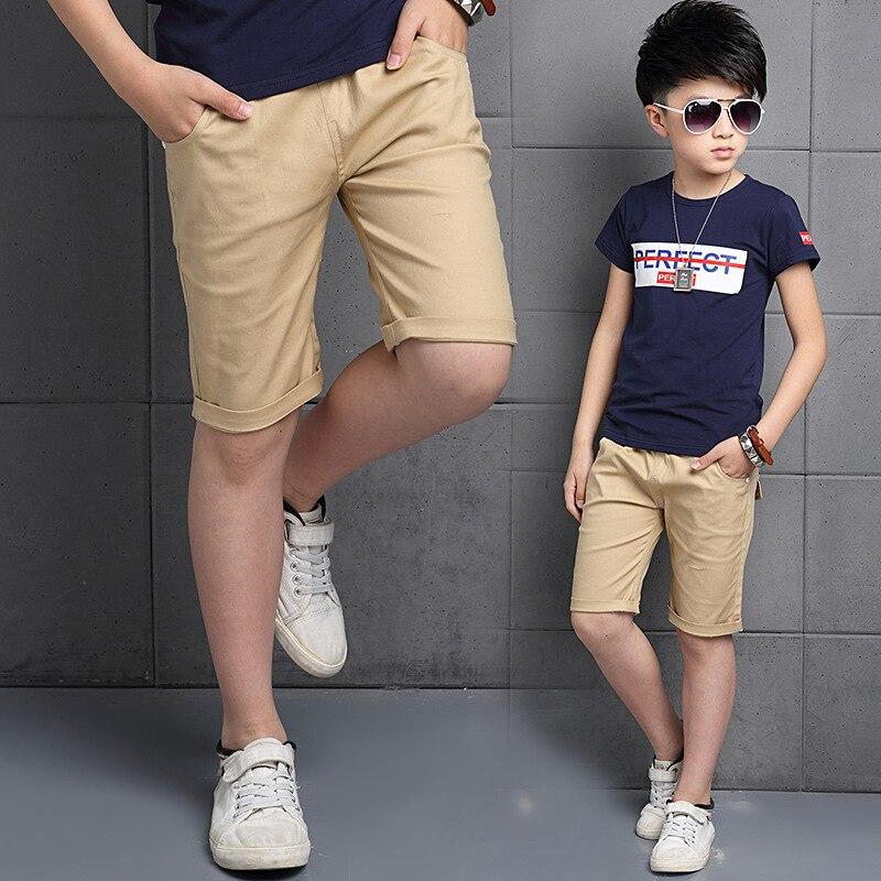 Boys Shorts Kids Pants Trousers Cotton Solid Color Elastic Waist Children S Clothing Kids Boy Shorts