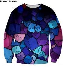 PLstar Cosmos New Fashion Creative 3d Cube Print Sweatshirts Women/Men Autumn Spring Long Sleeve Crewneck Colorful Sweatshirt