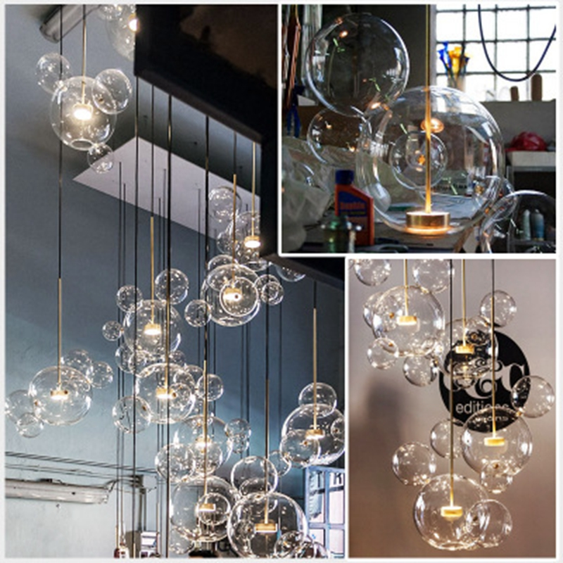 Glass Bubble Chandelier Dining Room Living Room Bedroom Kitchen Creative Mickey Mouse Pendant Lamp Staircase Oval Chandelier