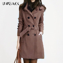 Uwback 2019 New Spring Woolen Coat Trench Women Slim Double Breasted Black Winter Coats Long Outerwear
