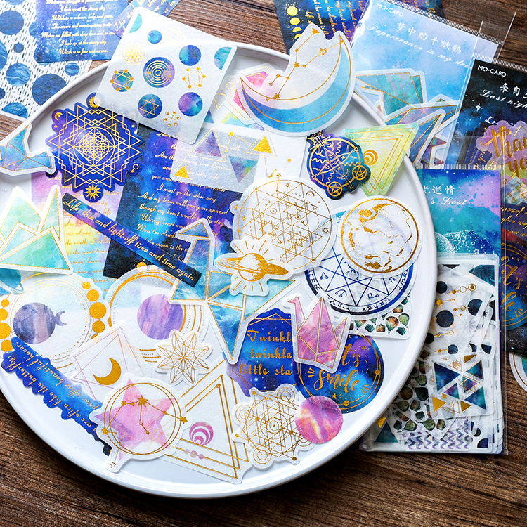 Night Star Magic Circle Gilding Decorative Washi Stickers Scrapbooking Gold Stick Label Diary Stationery Album Stickers