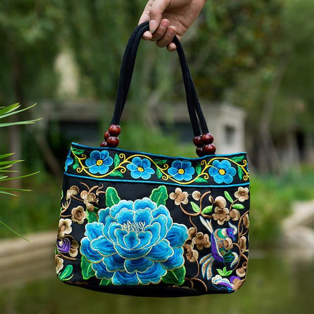 Vintage nacional étnico bordado Bolsos estilo chino bordado bolso de hombro  señora viaje compras Bolso saco 7ea7ea65d1c