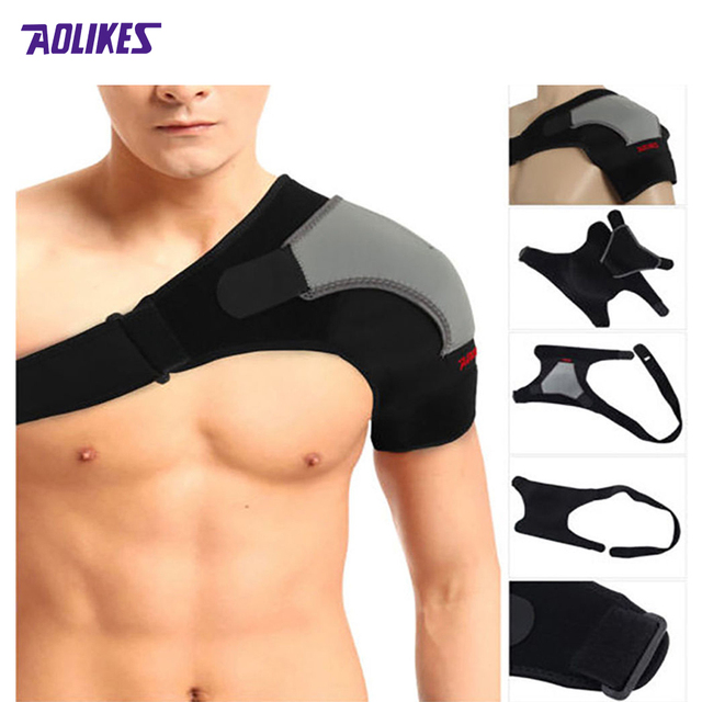 Left - Shoulder Breathable  Protection Elastic Bandage Shoulder Supports Kinesiology Sports Tape Single Shoulder Protector Z1640