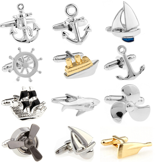 Promotion!!  Fashion Cufflinks Silver Color Fashion Anchor Design Copper Material Free Shipping