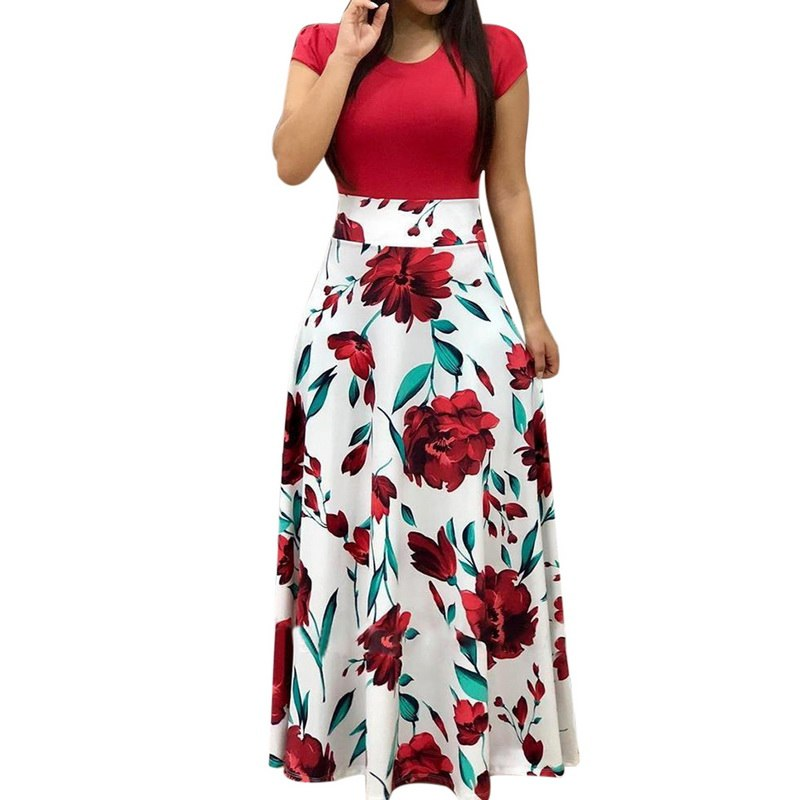NIBESSER Women Stylish Floral Print Summer Patchwork Maxi Dress 2019 Casual Short Sleeve Vintage Boho Beach Long Dress Vestidos