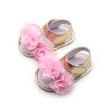 Baby summer sandals colorful silk flower sweet sandals gold PU baby shoes baby toddler shoes for 0-18M(China)