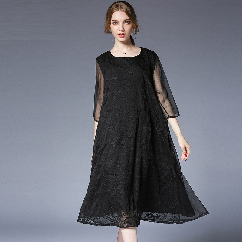 Women plus size Silk ruffle Embroidery Large size ladies' dresses Elegant long dress High waist crew neck loose summer dress