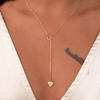 brixini.com - Stainless Steel Heart in Heart Pendant Chain Necklace