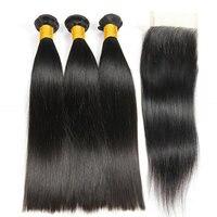 Yavida прямые бразильские волосы плетение бразильские прямые волосы пучки с закрытием 100% человеческие волосы плетение пучки с закрытием