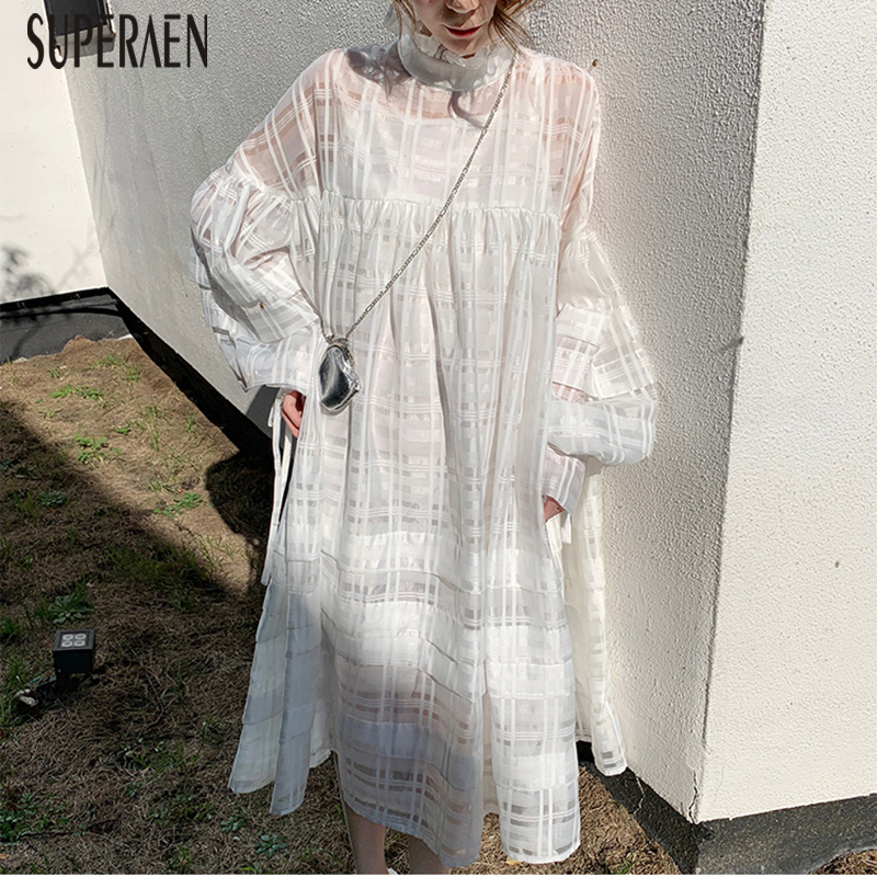 SuperAen Fashion Casual Two Pieces Dress Women Spring and Autumn 2019 New Dress Female Solid Color