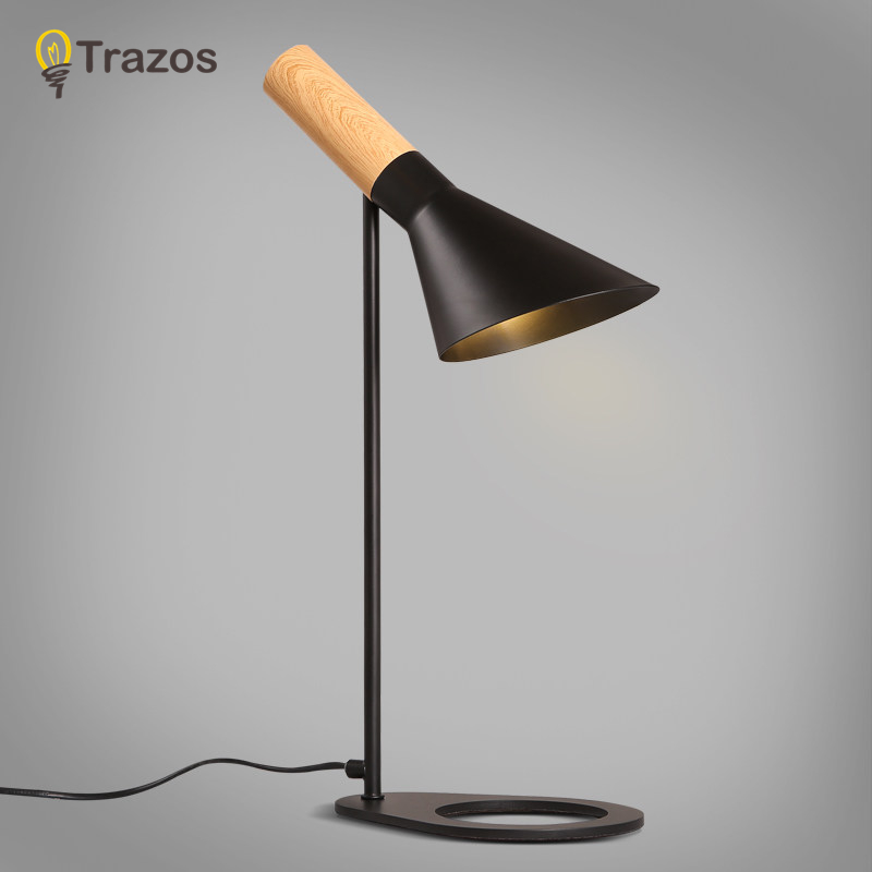 TRAZOS Modern Desk Lights With Iron Lampshade For Bedroom Reading Light Luminaria de mesa Simple E27 Book Lights botimi wooden table lamp with fabric lampshade bedside desk lights lamparas de mesa book lamps deco luminaria reading lighting