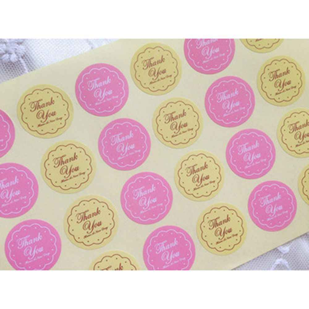 120Pcs/5 Sheet New Multicolor Thank You Round Golden Thank you Handmade Cake Packaging Sealing Label Sticker Baking DIY Gift