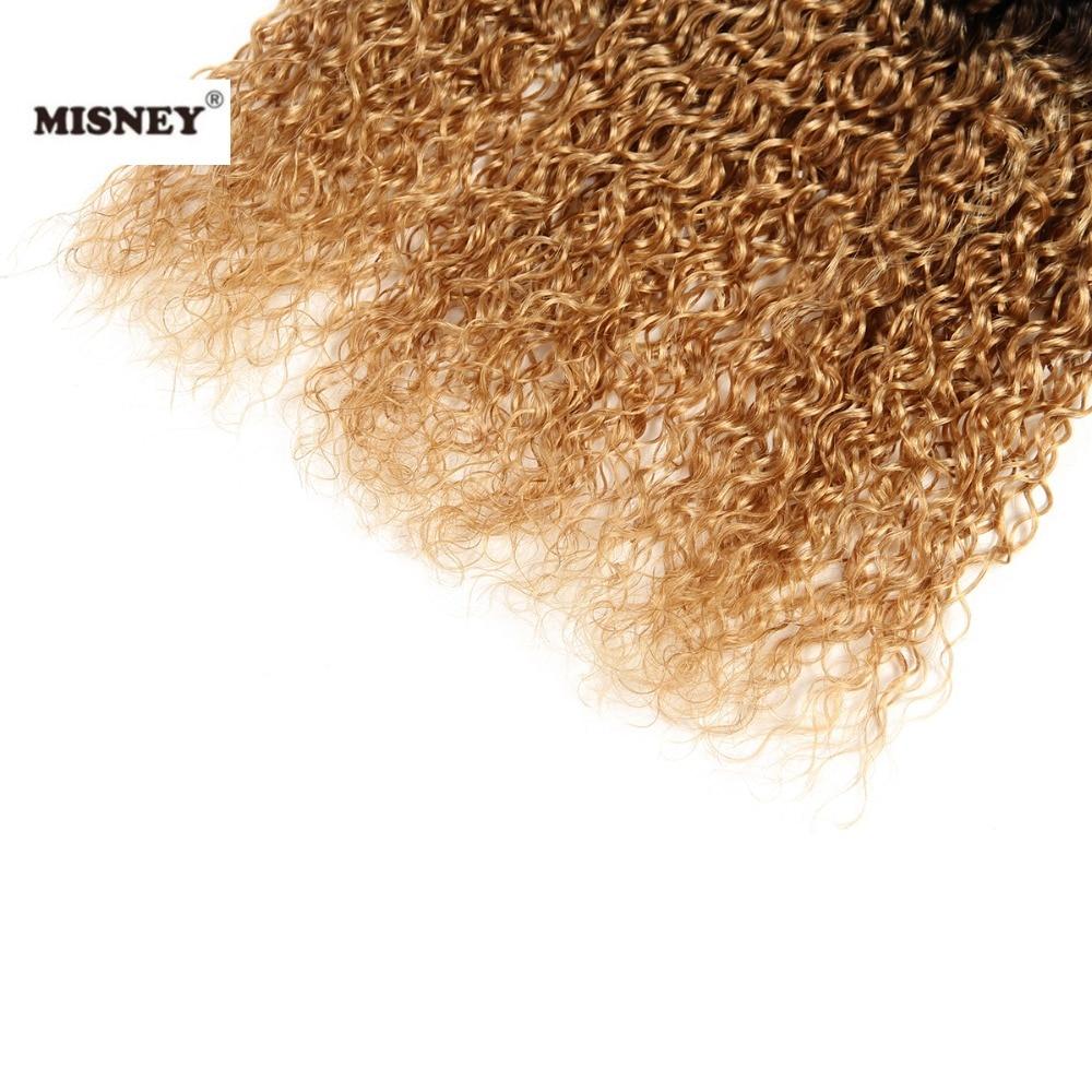 Бразильские накладные волосы Омбре 3 пучка 100 г Ombre Jerry Curl два тона черный и блонд 1B/27 человеческие волосы ткачество
