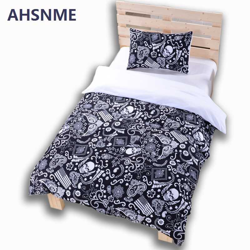 AHSNME Black Skull Bedding Set Halloween Style Bed Sheet US+AU King Queen Bed Linen Cotton Blend Flower Skull Duvet Cover Set